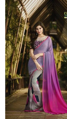 Grey & Purple Shaded Saree
